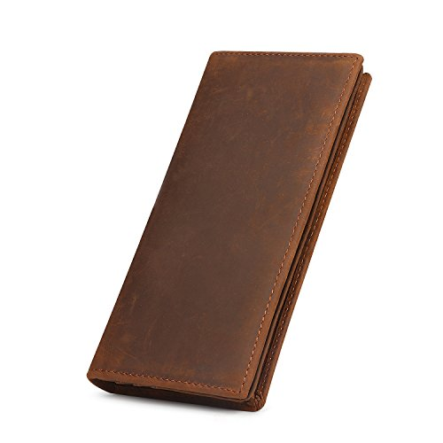 Kattee Men's Vintage Look Genuine Leather Long Bifold Wallet (Large, Brown)