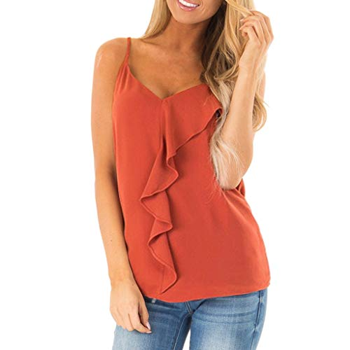 Women's Sexy V Neck Vest Summer Ruffle Front Cami Tank Tops Casual Sleeveless Shirts Blouses Red