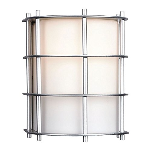 Forecast Lighting F8490-41NV Hollywood Hills One-Light Exterior Wall Light with Etched White Opal Glass, Vista Silver - Etched One Light