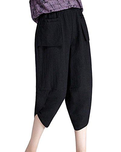 Libero Haidean Tasche Sciolto Tempo Eleganti Lino Estivi Elastica Vintage Con Pantaloni Vita Harem Capri Donna Monocromo Glamorous Nero Accogliente Fashion Semplice HaHFxrqw