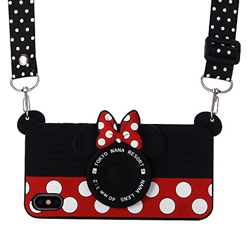 iPhone Xs/X Case with Lanyard, Shinymore 3D Cute Soft Silicone Cartoon Minnie Mouse Camera Design Case for iPhone Xs & iPhone X