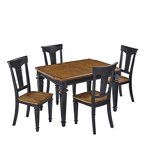 Home Styles 5003-348 5-Piece Americana Dining Set, Black and Oak