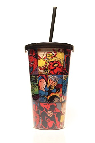Silver Buffalo MV91087 Marvel Comics Grid Plastic Cold Cup with Lid and Straw, 16-Ounces