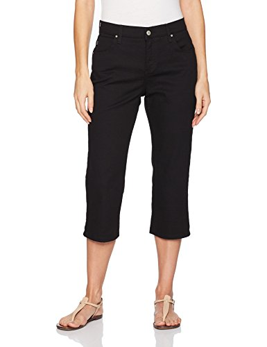 (LEE Women's Relaxed Fit Capri Pant, Black, 12)