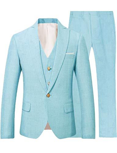 Mens Beach Wedding Linen Loose Leisure Suit Mens Formal Tuxedo Blazers Dinner Jackets Set Turquoise