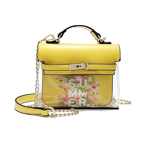 Yellow bag transparent fashion Summer 2018 printed single flamingo shoulder slung pattern RvzEAq1
