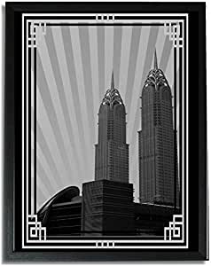Al Kazim Towers Metro - Black And White With Silver Border No Text F09-m (a4) - Framed