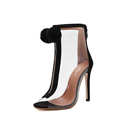 QPYC Sandalias tacones sanos de las mujeres del talón tacón alto decoración de la cremallera delantera transparente botas desnudas negro black