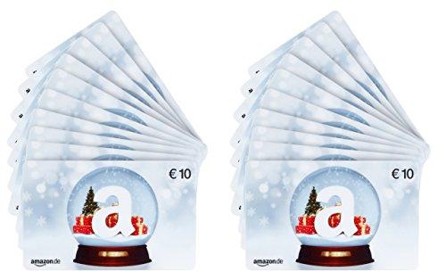 Amazon.de Geschenkkarte - 20 Karten zu je 10 EUR (Schneekugel)