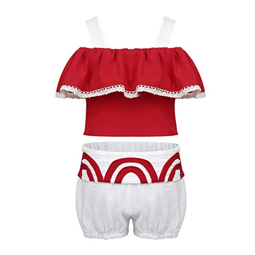 CHICTRY Toddler Girls Baby Birthday Fancy Dress Costume Princess Cosplay Party Beachwear Bathing Suits Red(Ruffles Top) 6-12 Months