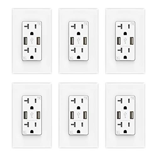 ELEGRP USB Charger Wall Outlet, Dual High Speed 4.0 Amp USB Ports with Smart Chip, 20 Amp Duplex Tamper Resistant Receptacle, Wall Plate Included, UL Listed (6 Pack, White)