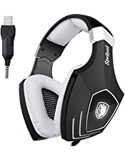 Stereo Gaming Headset Sades OMG/A60S Wired Gaming Headphones With USB MIC Noise Cancelling PC/Computer Game/Mac/Laptop (Black/White, 2018 Newest Version)