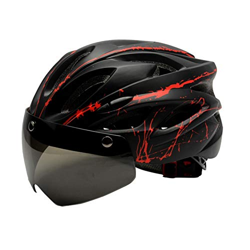 Adult Cycling Bike Helmet with Safety Detachable Magnetic Goggles Visor ,Lightweight Adjustable Mountain and Road Bicycle Helmets,for Men Women Racing Black red