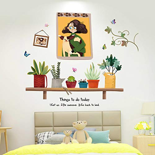 JDgoods Creative Cute Cartoon Flower Plant Wall Stickers, Removable DIY Waterproof Beautiful Decals Art Wall Stickers Murals for Living Room TV Background Kids Gilrs Rooms Bedroom Decoration (F)