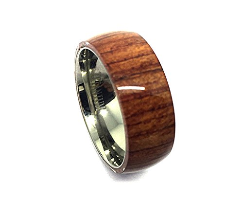 8mm - Man or Ladies - Titanium With Pure Brown Hawaiian Koa Wood Domed Top Wedding Band Ring