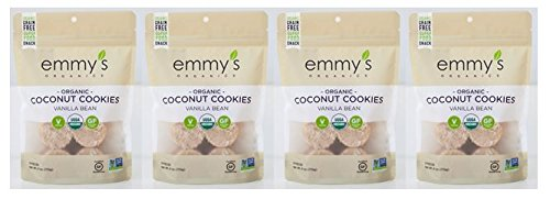 (Emmy's Organics Coconut Cookies, Vanilla Bean, 6 oz (Pack of 4))