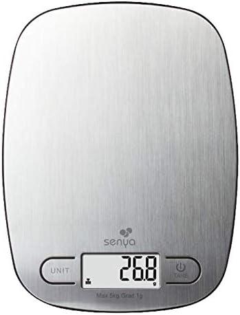 en Acier Inoxydable Senya Cuisine /électronique Balance de pr/écision My Little Scale INOX /écran LCD 5kg//1g SYCP-KS023