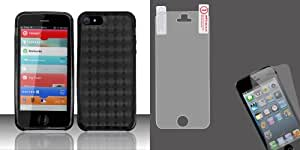 For iPhone 5 - TPU Cover w/ Pattern - Black TPU And MYBAT LCD Screen Protector for APPLE iPhone 5