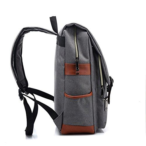 Saylla Mochila para Mujer Hombre Moda Bolsas para portátil Mochilas escolares para Viajes al aire libre(Azul Claro) Gris