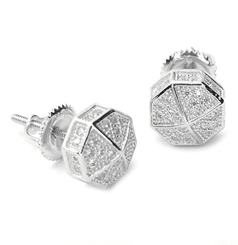 Men's Cubic Zirconia 3D Octagon Prong Setting Screw Back Earring BE 11622 (Silver) by METALTREE98