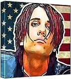 Criss Angel - Pop Art Print (Multicolour; Grungy Stars & Stripes Background) 30 x 30 x 2 cm Medium Square Deep Box Canvas
