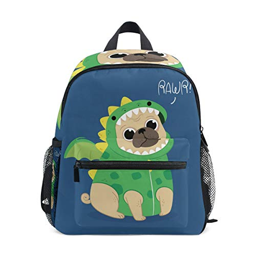 Cute Pug Dragon Costume Kids School Backpacks Book Bags for Boys Girls ()
