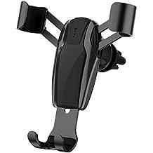 Car Phone Holder, Gravity Universal Air Vent Phone Mount Stable Car Cradle Mount for iPhone X/ 8/ 7/ 6s/ Plus, iPad Air 2/ mini 3, Galaxy S8 S7 S6 Edge, Note 8/ 5/ 4, LG/ G6/ V20, Nexus - Black (DIVI)