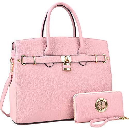 DASEIN Women's Purses and Handbags Shoulder Bags Ladies Tote Bags Padlock Satchels with -