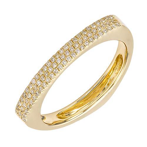 (14k Yellow Gold Signet Block Ring 0.19 Ct Natural Triple Strip Diamond For Women & Teens )