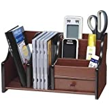 Home Cube Big Pen Stand Office Stationery Wooden Mobile Holder For Office Desk 8035 ,Brown