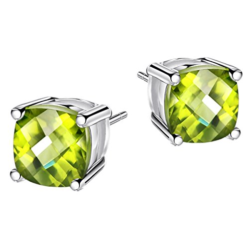 1.5ct Peridot Earrings Stud Sterling Silver Earring August Birthstone Gemstone Fine Jewelry for Women