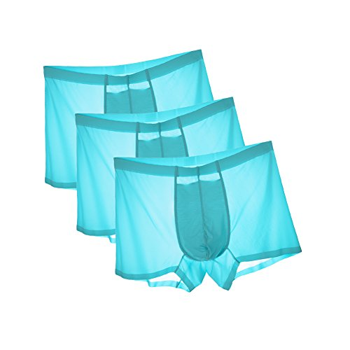 Mens Comfortable Ice Silk Underwear Sexy Boxers Solid Color Size XL, Blue - Ice Color