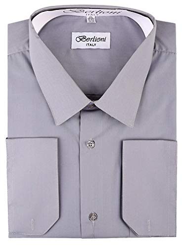 Men's Dress Shirt - Convertible French Cuffs ,Light Grey,Large (16-16.5