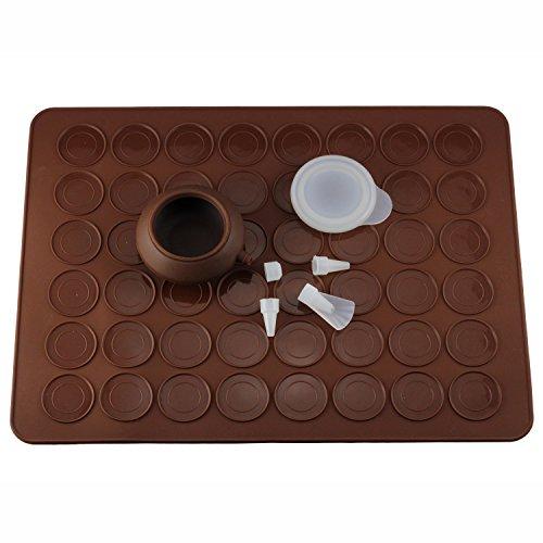Mujiang Silicone Macaron Kit Decorating Piping Pot Pastry Baking Mat Capacity 48