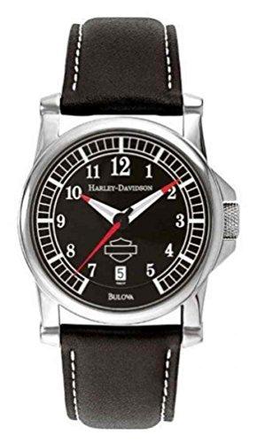 Harley-Davidson Men's Black Dial Bar & Shield Watch, Black Leather Strap 76B037