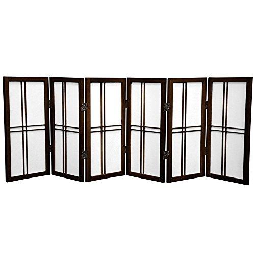 Oriental Furniture 2 ft. Tall Desktop Double Cross Shoji Screen - Walnut - 6 Panels by ORIENTAL FURNITURE