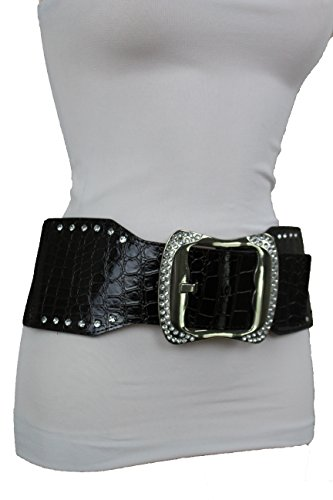 TFJ Women Fashion Wide Elastic Belt Hip Waist Silver Metal Bling Buckle Plus M L (Silver Bling Belt Buckle)