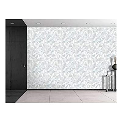 Majestic Craft, Large Wall Mural Abstract White Geometric Seamless Pattern Vinyl Wallpaper Removable Decorating, That's 100% USA Made