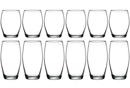 Pasabahce Premium Drinking Glasses, Tumbler, Water Glassware, Lead Free, Cold Soft Drinks, Beverages for Home, Office, Hotel, Bars, Set of 12 (Monte Carlo)