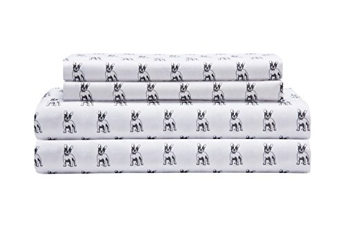 Elite Home Products Microfiber 90 GSM Whimsical Printed Sheet Set, Twin, White Bulldogs (Twin Set Printed)