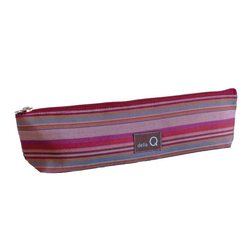 della Q Long Zipper Knitting Case for Notions (9'' W x 2.5'' H x 1.5'' D); 004 Red Stripes 1102-1-004 by della Q