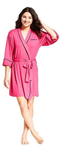 Satin Bebe (bebe Womens Long Sleeve Belted Satin Bathrobe Bright Pink Medium)