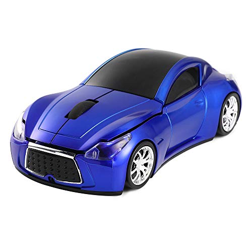 TekaDot Wireless Car Mouse [1600 DPI] with LED Headlights, Updated Sports Car Shaped Mouse for Computers and Laptops, Long Battery Life (Blue)