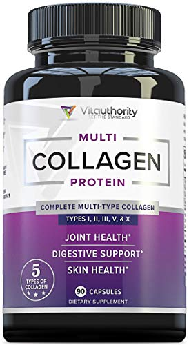 4134vmzlbRL - Multi Collagen Pills with Hyaluronic Acid & Vitamin C: 5 Type Hydrolyzed Collagen Protein Peptides, Types I II III V X, 30 Servings, 90 Capsules