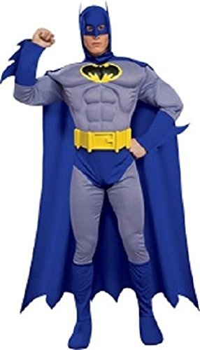 Deluxe Adult Batman Costumes Muscle Chest (Rubie's Costume Dc Heroes and Villains Collection Deluxe Muscle Chest Batman, Multicolored, Medium Costume)