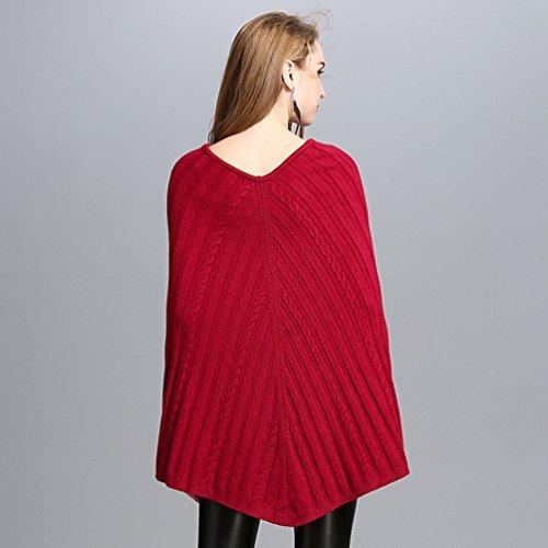 Rojo Otoño Suéter Color Punto E Suéter Creativo Sólido Chal De Casual Mujer Invierno WanYang Pulóver De Para xf0wARg4qq