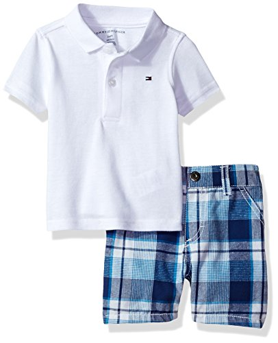 138e03ed Tommy Hilfiger Baby Boys' 2 Pieces Polo and Plaid Short Sets, White, 3/6M -  Buy Online in UAE. | Apparel Products in the UAE - See Prices, Reviews and  Free ...