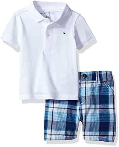 Tommy Hilfiger Baby Boys' 2 Pieces Polo and Plaid Short Sets, White, 3/6M