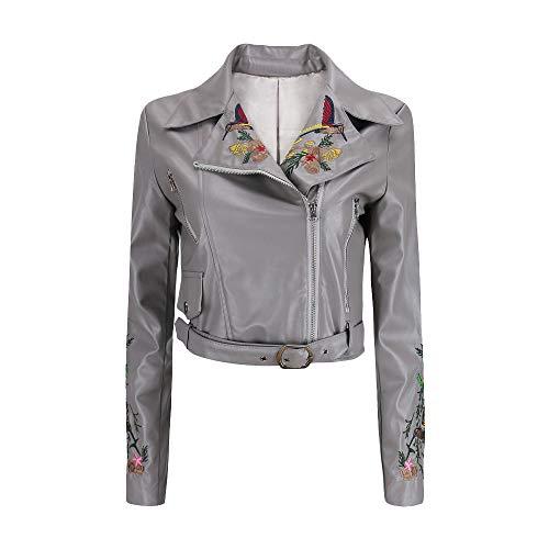 BETTERUU UFACE Winter Women Short Coat Leather Jacket Parka Embroidery Zipper Overcoat Outwear