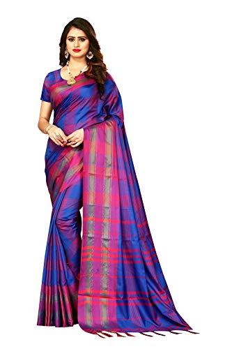 Indian Wedding Wear Sarees for Women Banarasi Checks Silk Woven Sari 9051 (Blue) ()